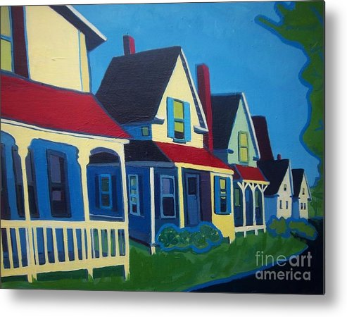 Maine Metal Print featuring the painting Harpswell Cottages by Debra Bretton Robinson
