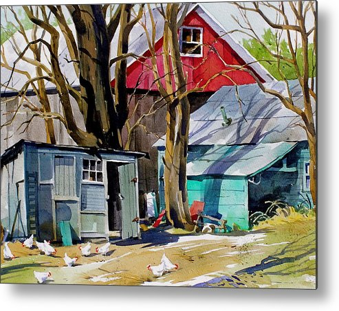 Barnyard Scene Metal Print featuring the painting Hen House by Art Scholz