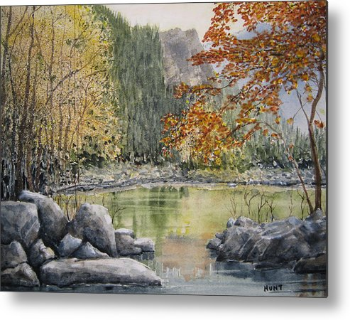 Landscape Metal Print featuring the painting Hidden Lake by Shirley Braithwaite Hunt
