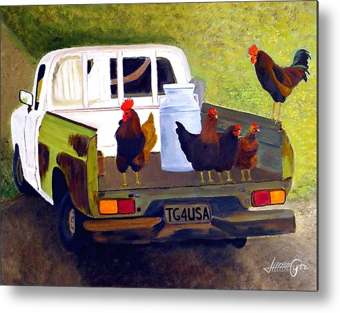 Truck Metal Print featuring the painting Hitchin' A Ride To Town by JoeRay Kelley