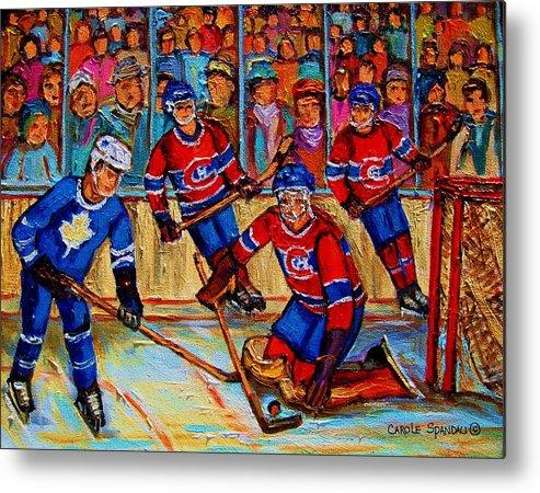 Hockey Metal Print featuring the painting Hockey Hero by Carole Spandau