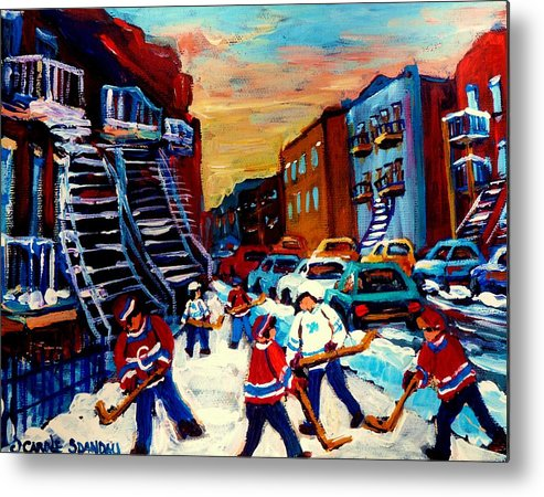 Montreal Metal Print featuring the painting Hockey Paintings Of Montreal St Urbain Street City Scenes by Carole Spandau