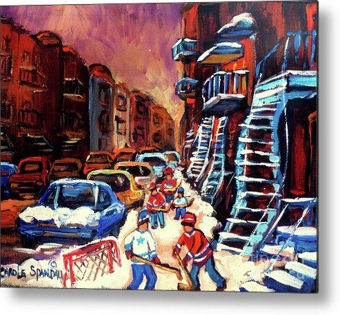 Montreal Metal Print featuring the painting Hockey Paintings Of Montreal St Urbain Street Winterscene by Carole Spandau