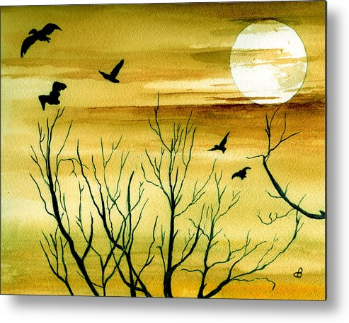 Landscape Watercolor Birds Ravens Crows Trees Sun Sunset Sky Clouds Metal Print featuring the painting Homeward by Brenda Owen