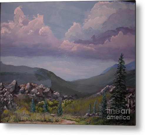 Mountains Metal Print featuring the painting Hualapai Mountains by John Wise