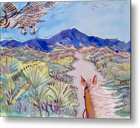 Owl Metal Print featuring the painting In The Wash by Virginia Vovchuk