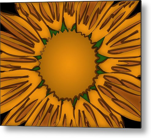 Ink Metal Print featuring the painting Ink Sunflower by Christopher Sprinkle