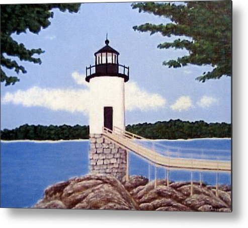 Isle Au Haut Lighthouse Painting Metal Print featuring the painting Isle Au Haut Lighthouse by Frederic Kohli