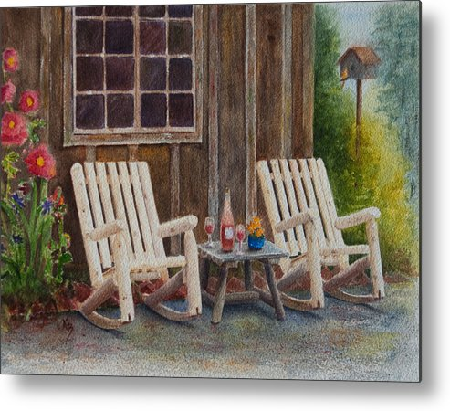 Chairs Metal Print featuring the painting It's Five O'clock Somewhere by Karen Fleschler