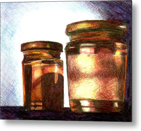 Still Life Metal Print featuring the drawing Jars by Raven Creature