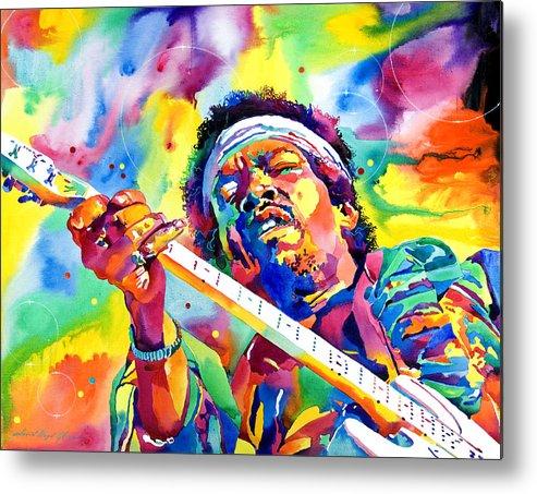 Jimi Hendrix Metal Print featuring the painting Jimi Hendrix Electric by David Lloyd Glover