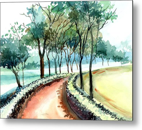 Landscape Metal Print featuring the painting Jogging Track by Anil Nene