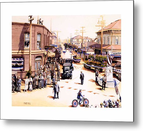 Gresham Parade Fourth Of July Armistice Day 1919 Statue Liberty Bike Float Flag Patriotic Celebrate Metal Print featuring the painting Keep To The Right by Mike Hill