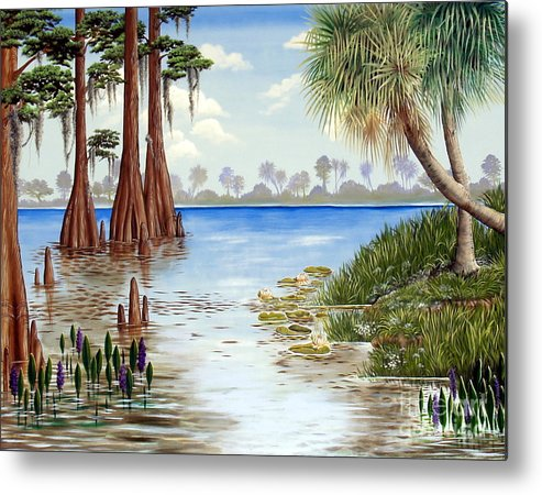 Nature Metal Print featuring the painting Kissimee River Shore by Monica Turner