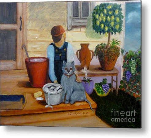 Cat Metal Print featuring the painting Kitten Bath by Beverly Hanni