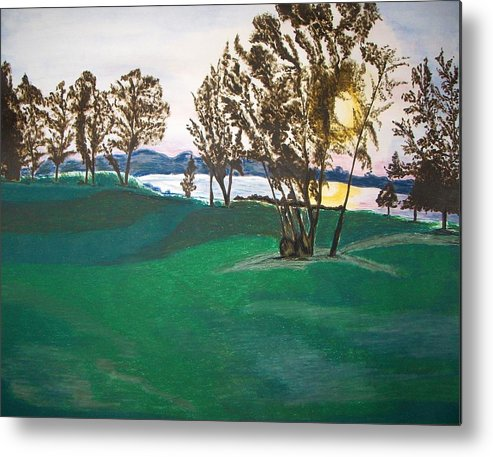 Lake Metal Print featuring the painting Lake Sullivan by Sanchia Fernandes