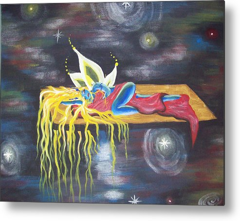 Fairy Metal Print featuring the painting Laying In Space by Hollie Leffel