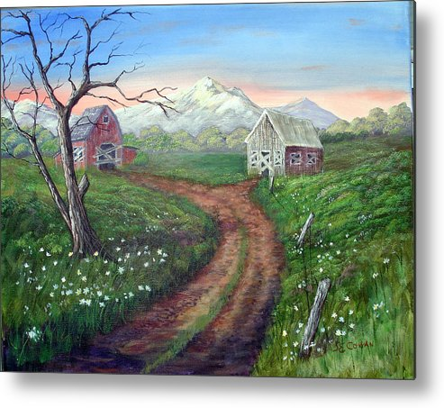 Landscape Metal Print featuring the painting Left Behind - The Old Homestead by SueEllen Cowan