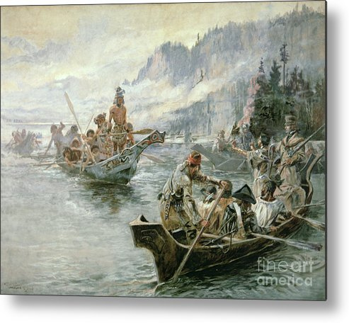 Rivers Metal Print featuring the painting Lewis And Clark On The Lower Columbia River by Charles Marion Russell