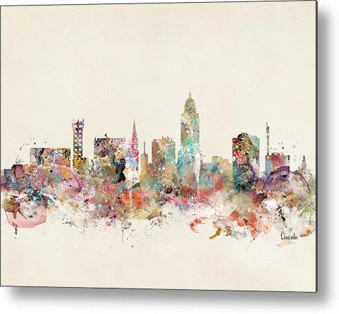 Lincoln City Skyline Metal Print featuring the painting Lincoln City Skyline Nebraska by Bri Buckley