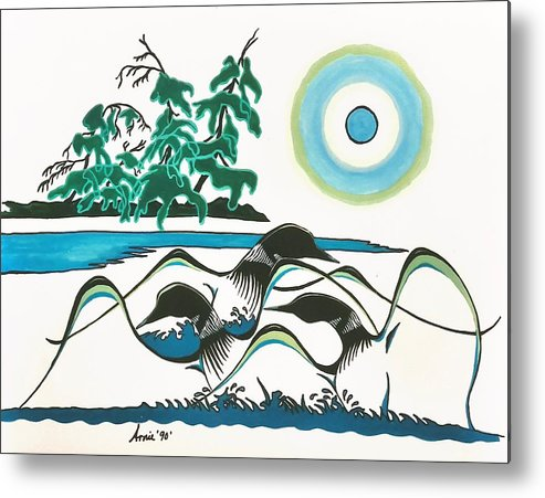 Loons Metal Print featuring the painting Loons At Play by Arnold Isbister