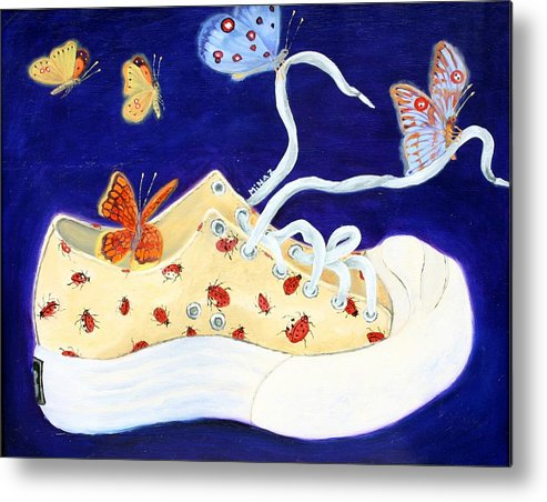 Running Shoes Metal Print featuring the painting Lucky Lady Bug Shoe by Minaz Jantz