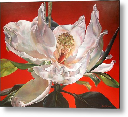 Floral Painting Metal Print featuring the painting Magnolia by Muriel Dolemieux