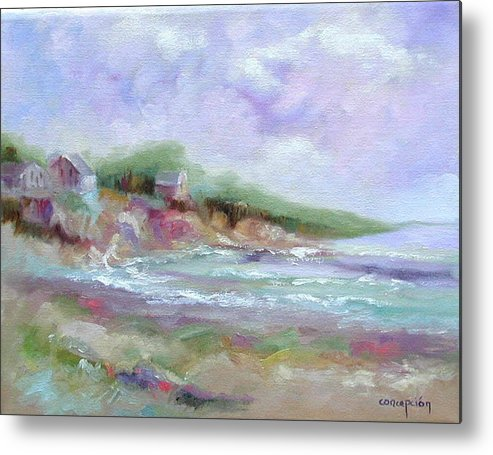 Maine Coastline Metal Print featuring the painting Maine Coastline by Ginger Concepcion