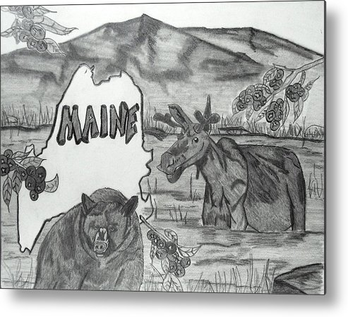 Collage Metal Print featuring the drawing Maine by Katina Cote