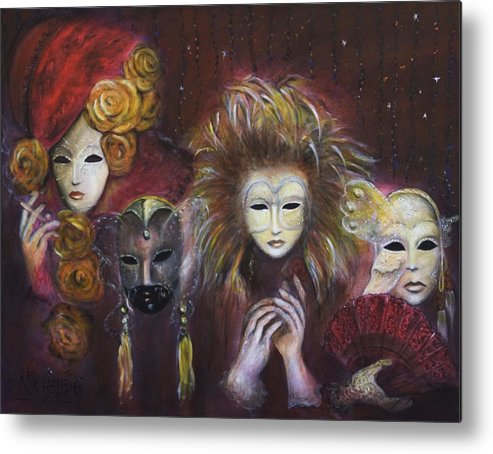 Masks Metal Print featuring the painting Making Faces Vi by Nik Helbig