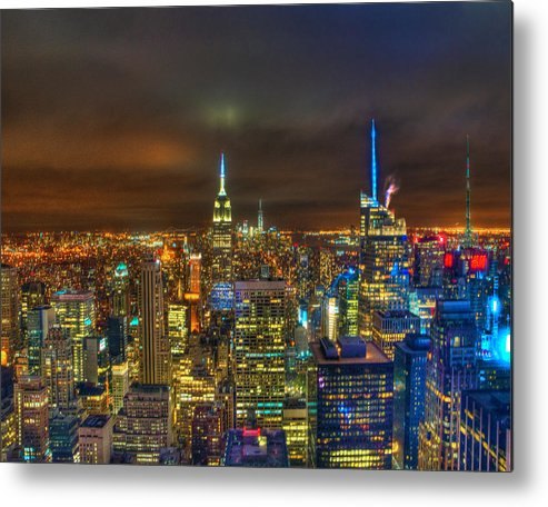 Manhattan Metal Print featuring the photograph Manhattan At Night 355 by Jeff Stallard