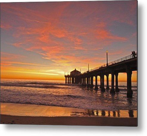 Manhattan Beach Sunset Metal Print featuring the photograph Manhattan Beach Sunset by Matt MacMillan