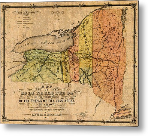 picture regarding Printable Map of New York State called Map Of Refreshing York Nation Displaying Initial Indian Tribe Iroquois Landmarks And Territories Circa 1720 Metallic Print