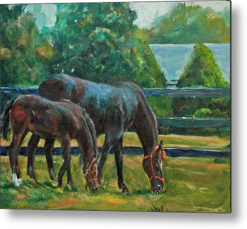 Equine Art Metal Print featuring the painting Mare And Foal by Stephanie Allison