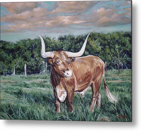 Bull Metal Print featuring the painting Mays Longhorn by Diann Baggett