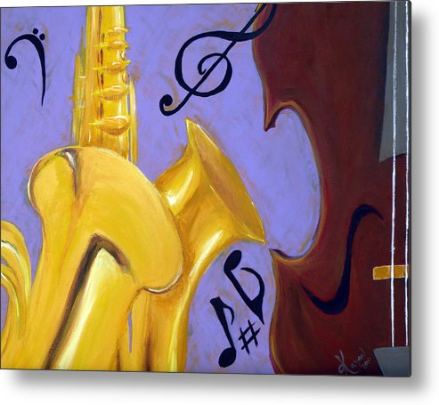 Music Metal Print featuring the mixed media Mellow Me by Kayon Cox