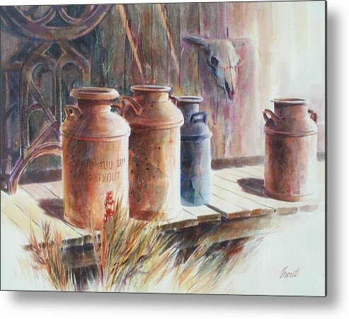 Old Milk Cans Metal Print featuring the painting Milk Run by Don Trout
