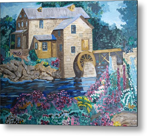 Stone Metal Print featuring the painting Mill River by Keith Bagg