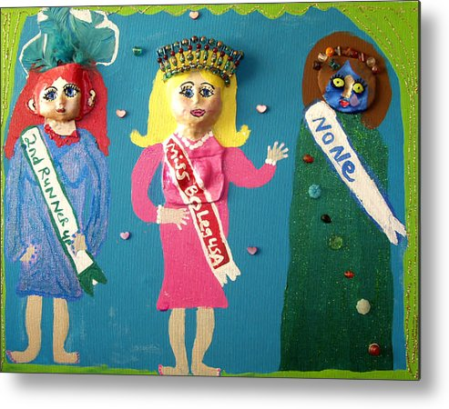 Metal Print featuring the mixed media Miss Bo Leg Usa by Betty Roberts