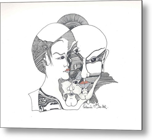 Human Shapes Metal Print featuring the drawing Mixed Identities by Padamvir Singh