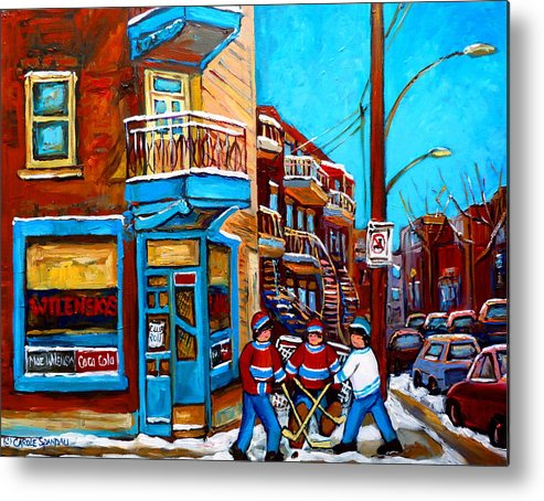 Montreal Metal Print featuring the painting Montreal City Scene Hockey At Wilenskys by Carole Spandau