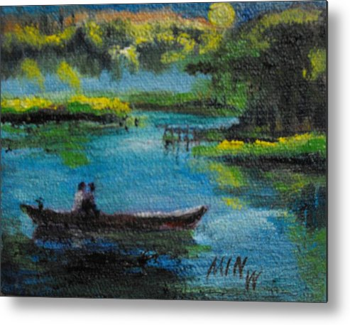 Moonlight Metal Print featuring the painting moonlight Ride by Min Wang