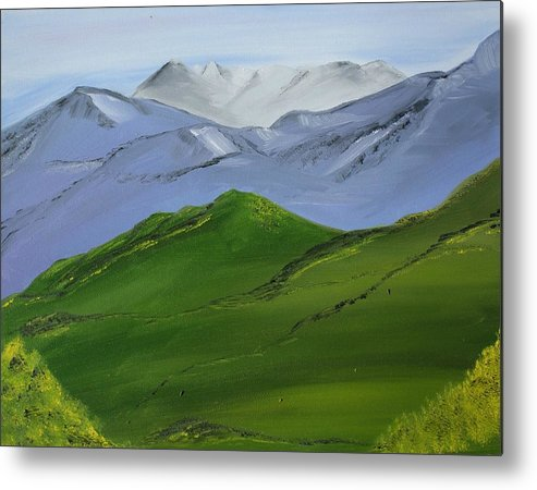 Landscape Metal Print featuring the painting More Mountains by Liz Vernand
