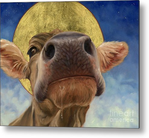 Cow Holy Cow Mother Superior Mother Superior Halo Lorraine Nose Gold Leaf Animals Animal Rabbits Metal Print featuring the painting Mother Superior by Lorraine Bushek
