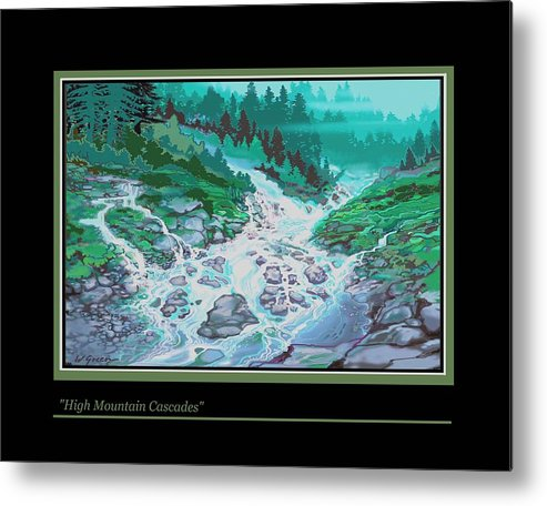 Landscape Cascading Wild Mountain River Forest Metal Print featuring the painting Moutain Cascades by Walt Green