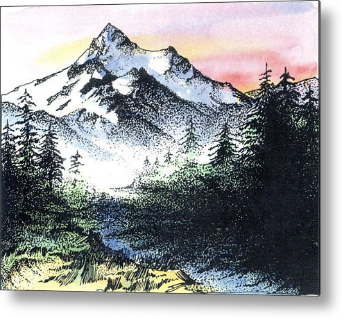 Landscape Metal Print featuring the mixed media Mt Thielson Oregon by Donald Aday