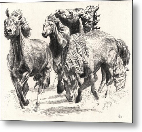 Cowboy Metal Print featuring the drawing Mustangs Of Las Colinas by David Clemons