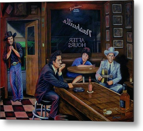Nashville Metal Print featuring the painting Nashville After Hours by Antonio F Branco