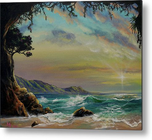 Seascape Metal Print featuring the painting Natural Mystic by Marco Antonio Aguilar