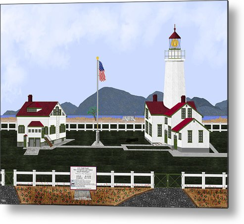Lighthouse Metal Print featuring the painting New Dungeness Lighthouse At Sequim Washington by Anne Norskog